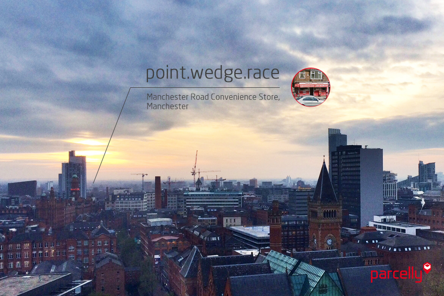 Parcelly what3words partnership Parcelly location example Manchester