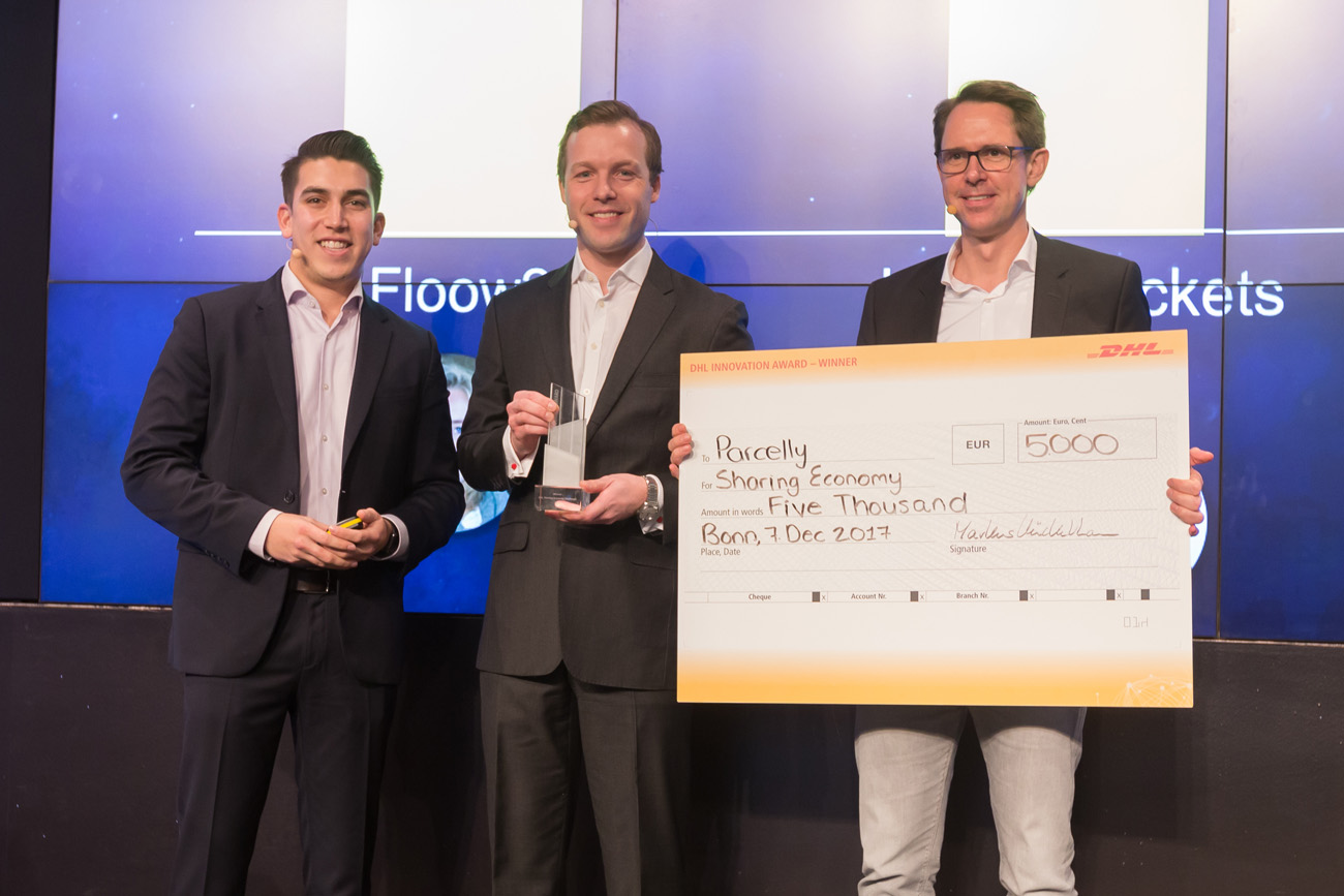 Parcelly Winner DHL Sharing Economy Challenge Innovation Day Sebastian Steinhauser 2017 Stage