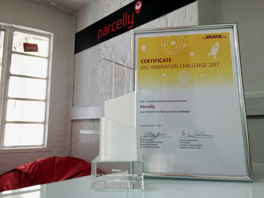 Parcelly Winner DHL Sharing Economy Challenge 2017 Award