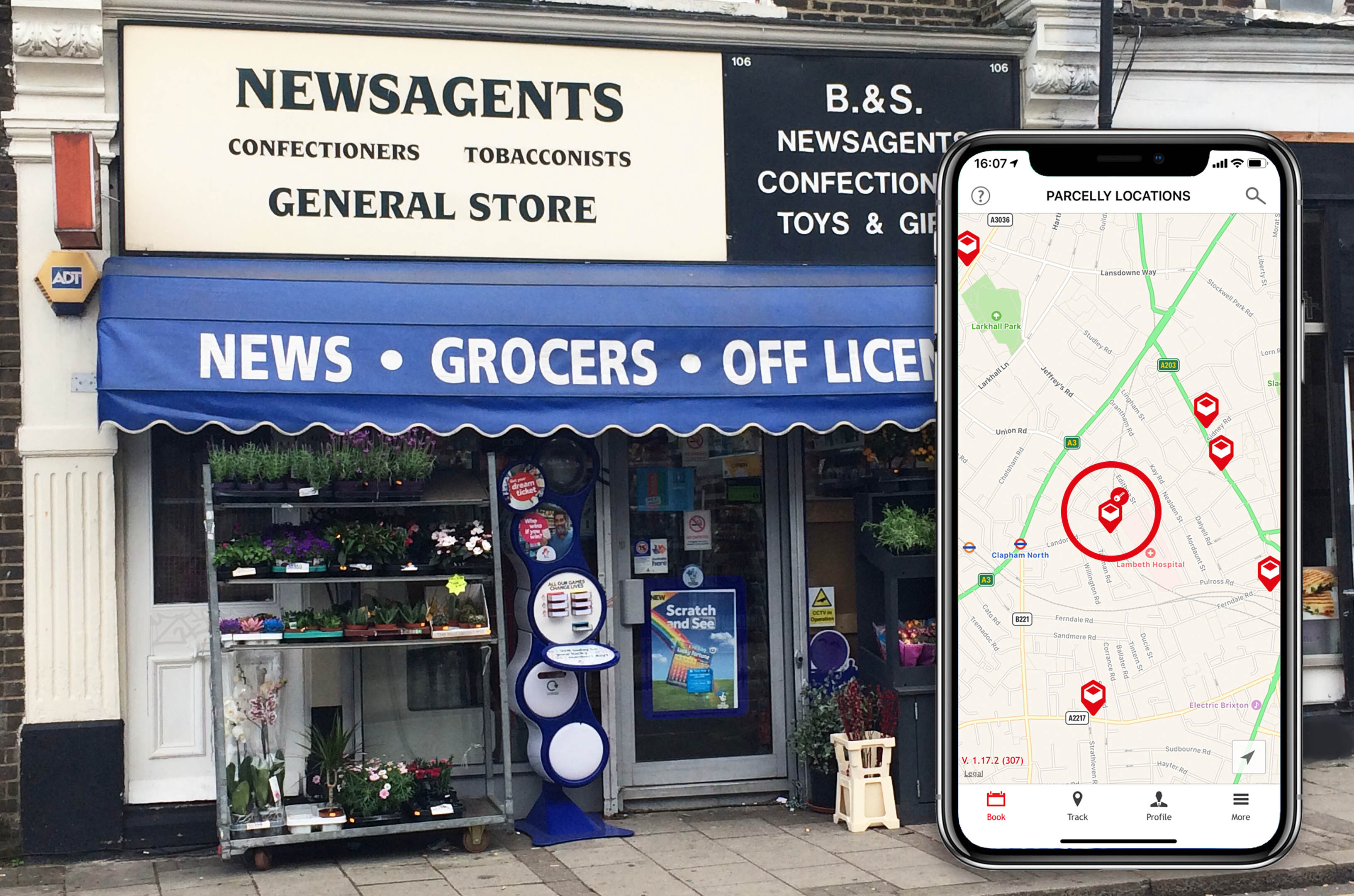 Parcelly Location of the Month BS Newsagents Storefront with iPhone